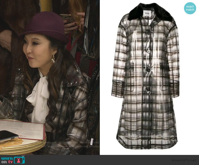 Check Raincoat by Stand Studio worn by Mindy Chen (Ashley Park) on Emily in Paris