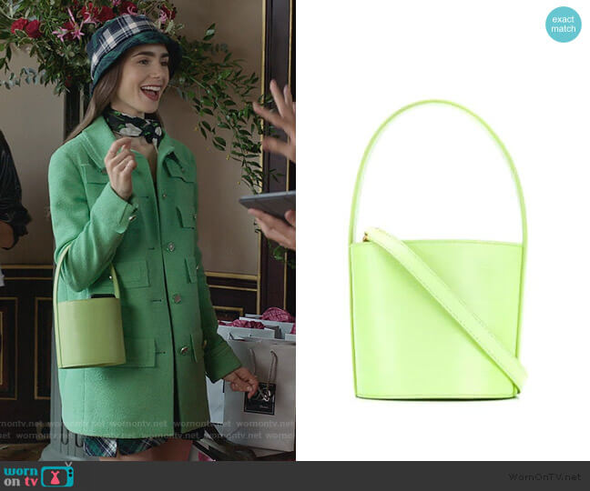 mini Bissett lizard-embossed leather bucket bag by Staud worn by Emily Cooper (Lily Collins) on Emily in Paris