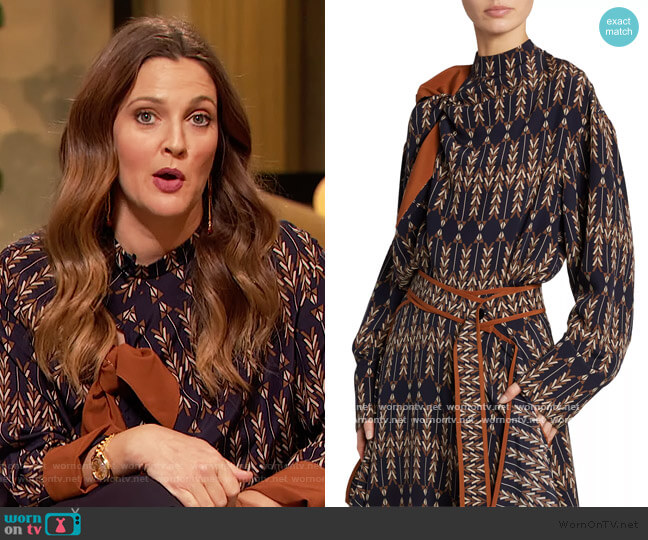 Tie-Front Arrow-Print Silk Blouse by Stella McCartney worn by Drew Barrymore  on The Drew Barrymore Show