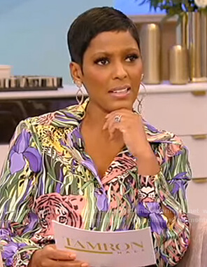 Tamron's tiger print blouse and pants on Tamron Hall Show