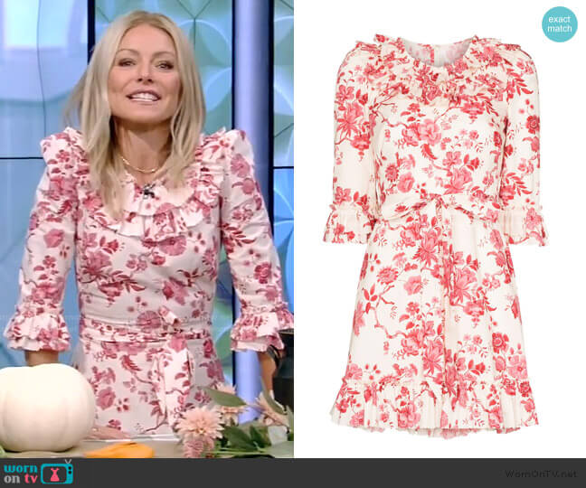 Gloria Floral-Print Mini dress by The Vampire's Wife worn by Kelly Ripa  on Live with Kelly & Ryan