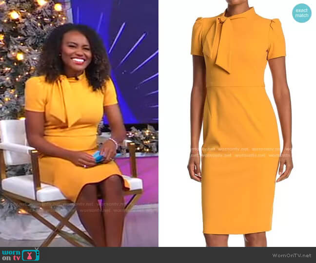 Tie Neck Puff Sleeve Scuba Crepe Dress by Maggy London worn by Janai Norman  on Good Morning America
