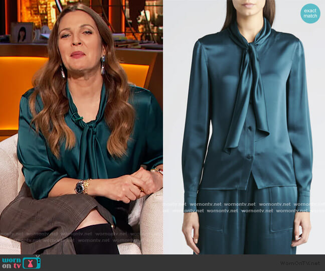Scarf-Neck Satin Blouse by Tom Ford worn by Drew Barrymore  on The Drew Barrymore Show