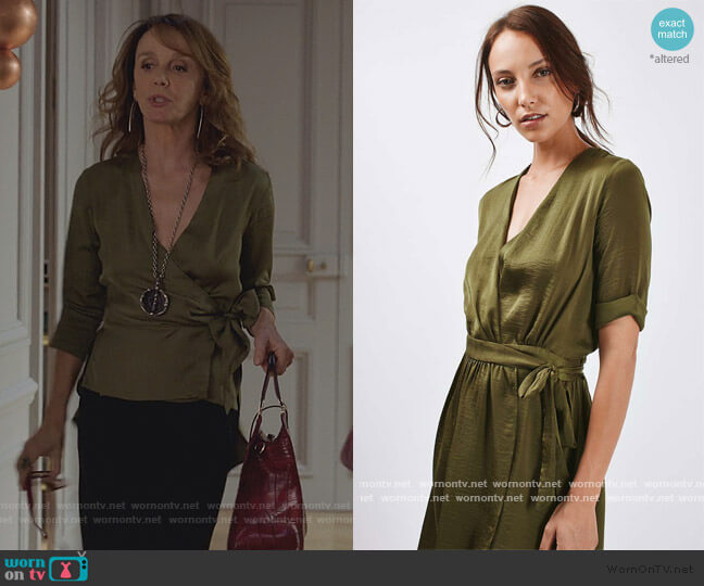 Crushed Satin Wrap Dress by Topshop worn by Sylvie (Philippine Leroy-Beaulieu) on Emily in Paris