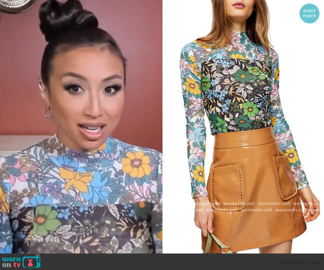 Floral Print Long Sleeve Mesh Top by Topshop worn by Jeannie Mai  on The Real