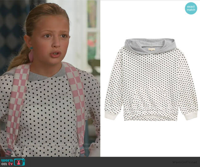 Don't Look Back Polka Dot Hoodie by Tucker + Tate worn by Anna-Kat Otto (Giselle Eisenberg) on American Housewife