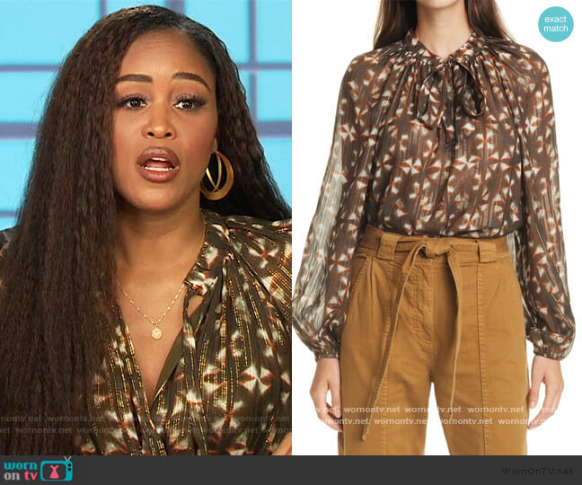 Luna Metallic Silk Blouse by Ulla Johnson worn by Eve  on The Talk