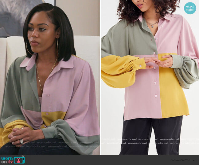 Many Miles Colorblock Button-Down Shirt by Ghospell at Urban Outfitters worn by Monique Samuels  on The Real Housewives of Potomac