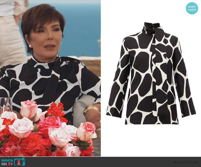 Pussy-bow 1966 giraffe-print wool-blend top by Valentino worn by Kris Jenner  on Keeping Up with the Kardashians