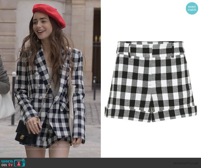 Carito checked cotton Shorts by Veronica Beard worn by Emily Cooper (Lily Collins) on Emily in Paris