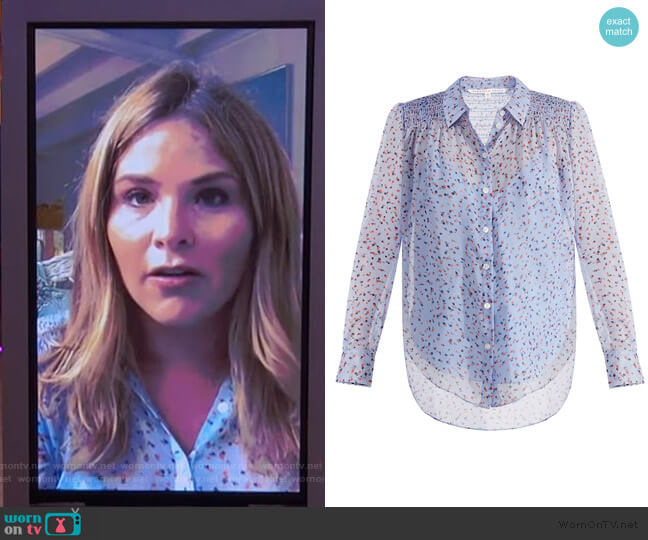 Dazed Silk Floral Button-Down Shirt by Veronica Beard worn by Jenna Bush on The Kelly Clarkson Show