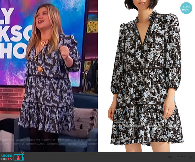 Hawken Floral Tiered Stretch Silk Dress by Veronica Beard worn by Kelly Clarkson  on The Kelly Clarkson Show