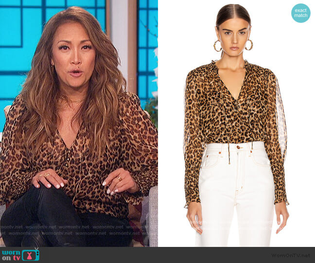 Jaz Blouse by Veronica Beard worn by Carrie Inaba  on The Talk