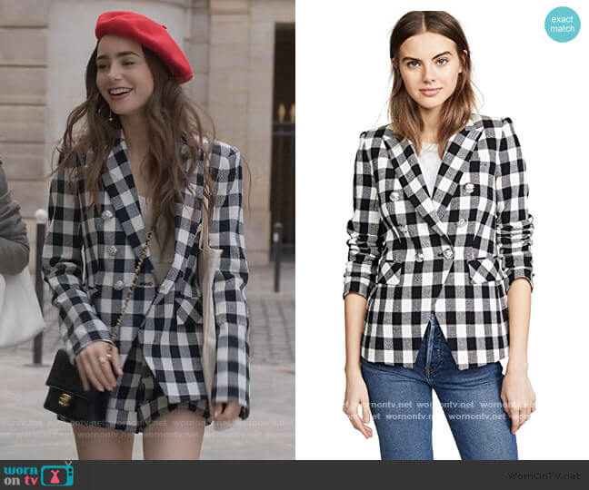 Miller Dickey Jacket by Veronica Beard worn by Emily Cooper (Lily Collins) on Emily in Paris