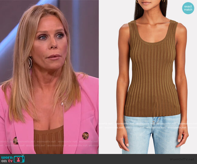 Sandra Ribbed Top by Veronica Beard worn by Cheryl Hines on The Kelly Clarkson Show
