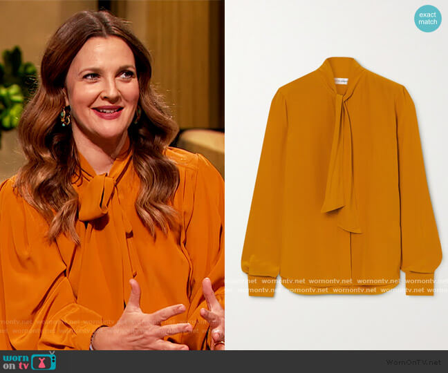 Pussy-bow silk crepe de chine blouse by Victoria Beckham worn by Drew Barrymore  on The Drew Barrymore Show