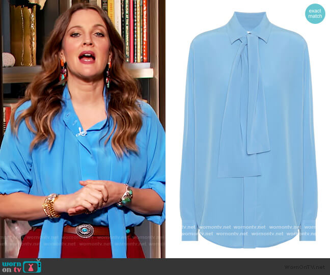 Silk-crepe tie-neck blouse by Victoria Beckham worn by Drew Barrymore  on The Drew Barrymore Show