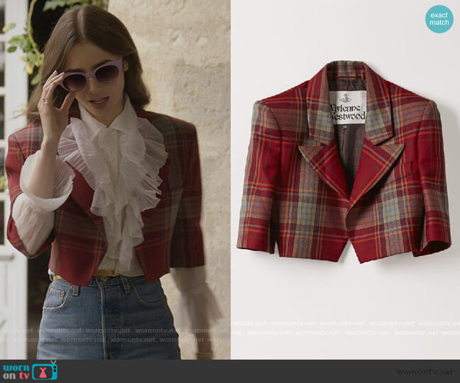 Cropped Jacket in Tartan Red by Vivienne Westwood worn by Emily Cooper (Lily Collins) on Emily in Paris