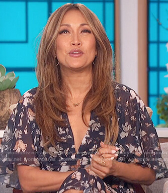 Carrie's navy floral wrap dress on The Talk