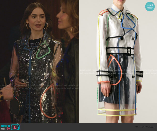 Seethrough Trench Coat by Wanda Nylon worn by Emily Cooper (Lily Collins) on Emily in Paris
