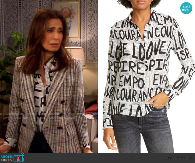 Willa Silk Top by Alice + Olivia worn by Hope Williams (Kristian Alfonso) on Days of our Lives