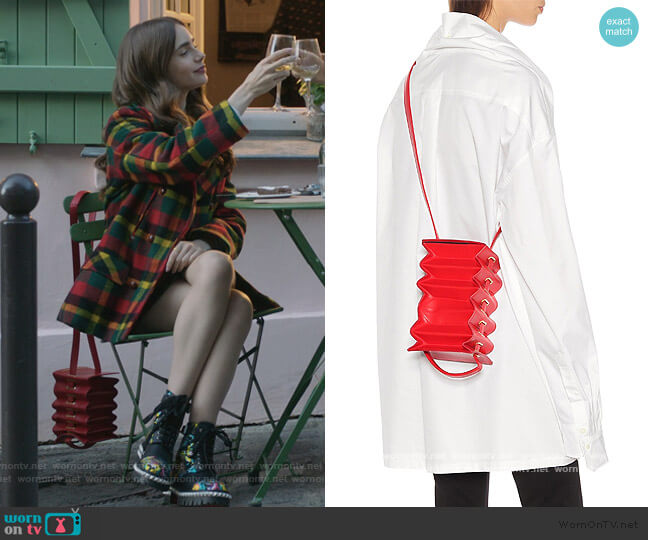Accordion Tote Bag by Y/Project worn by Emily Cooper (Lily Collins) on Emily in Paris