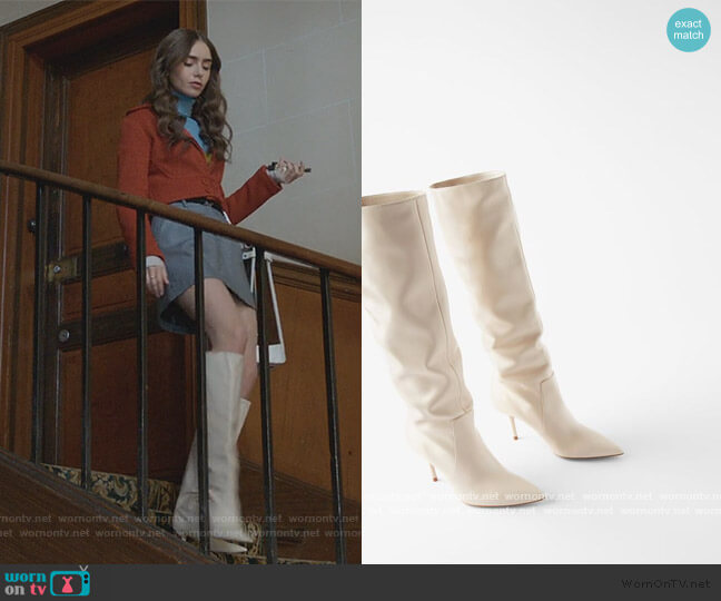 High Rise Leather Boots by Zara worn by Emily Cooper (Lily Collins) on Emily in Paris