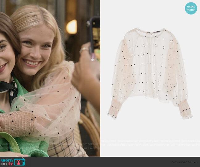 Semi Sheer Polka Dot Top by Zara  worn by Camille Razat on Emily in Paris