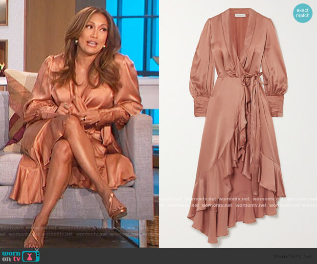 Asymmetric ruffled silk-satin wrap midi dress by Zimmermann worn by Carrie Inaba  on The Talk