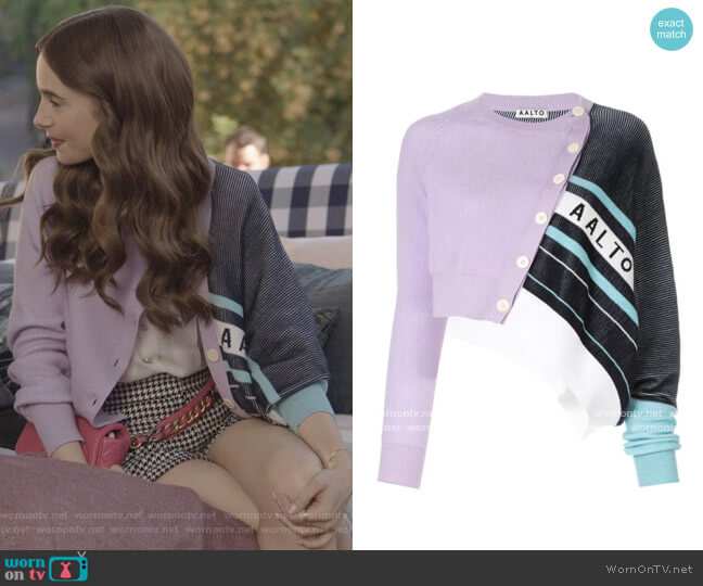 Aalto Cropped Knit worn by Emily Cooper (Lily Collins) on Emily in Paris