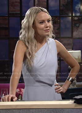 Abby's blue one-shoulder jumpsuit on The Young and the Restless