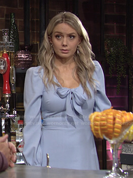 Abby's blue tie neck dress on The Young and the Restless