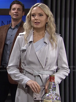 Abby's light grey trench coat on The Young and the Restless