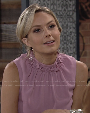 Abby's pink ruffle neck sleeveless top on The Young and the Restless