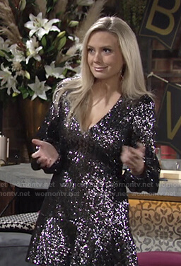 Abby's sequin v-neck mini dress on The Young and the Restless