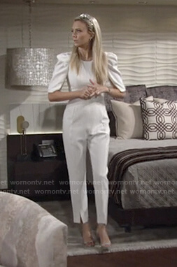 Abby's white puff sleeve jumpsuit on The Young and the Restless