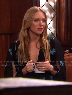 Abigail's black floral split-sleeve dress on Days of our Lives