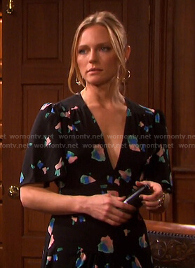 Abigail's black floral v-neck midi dress on Days of our Lives