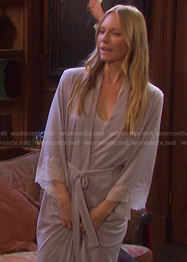Abigails's lilac lace trim chemise and robe on Days of our Lives