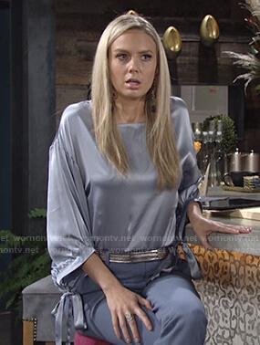 Abby's blue satin tie sleeve blouse on The Young and the Restless