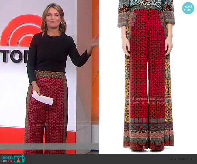 Athena Pattern Mix Wide Leg Pants by Alice + Olivia worn by Savannah Guthrie  on Today