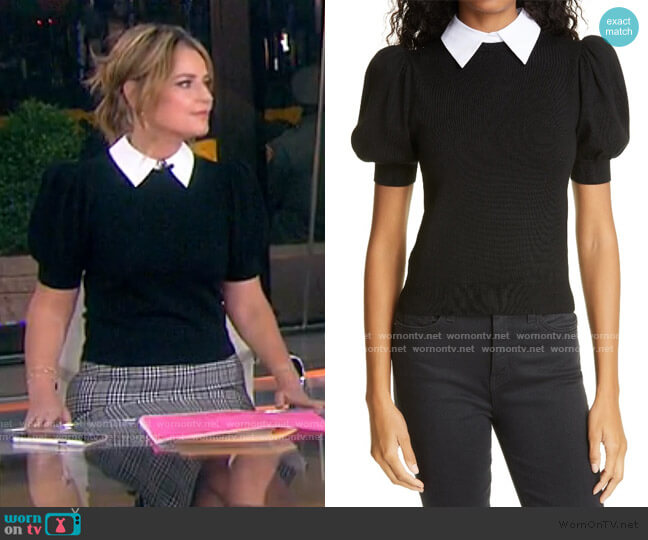 Chase Puff Sleeve Sweater with Removable Collar by Alice + Olivia worn by Savannah Guthrie  on Today