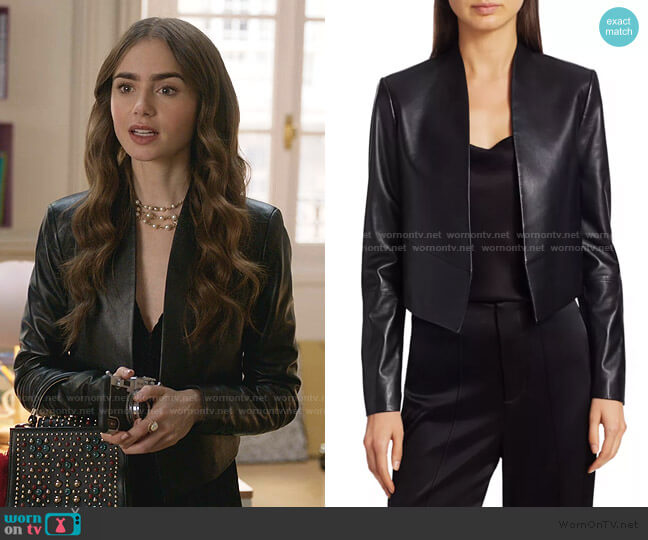 Harvey Open Leather Jacket by Alice + Olivia worn by Emily Cooper (Lily Collins) on Emily in Paris