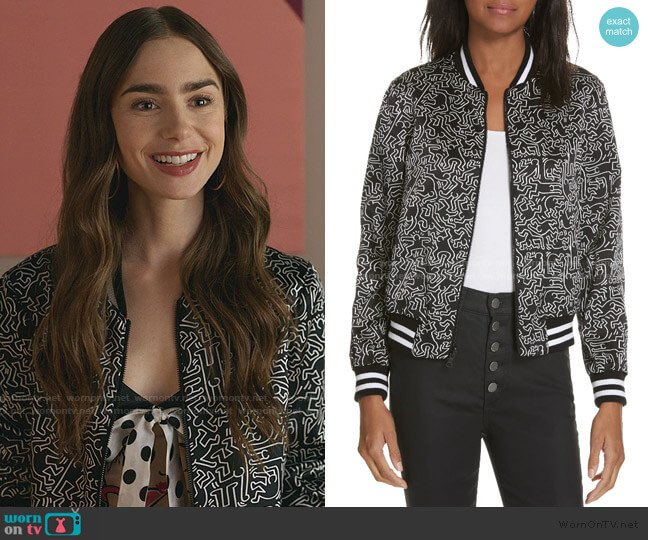 Lonnie Reversible Bomber Jacket by Keith Haring  x  Alice + Olivia worn by Emily Cooper (Lily Collins) on Emily in Paris