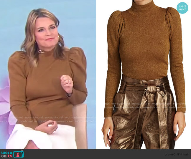 Issa Glitter Puff-Sleeve Turtleneck Sweater by Alice + Olivia worn by Savannah Guthrie  on Today