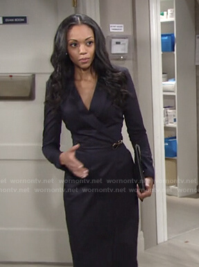 Amanda's navy wrap sheath dress on The Young and the Restless
