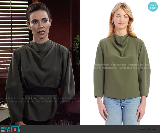 Philomena Top by Amanda Uprichard worn by Victoria Newman (Amelia Heinle) on The Young & the Restless
