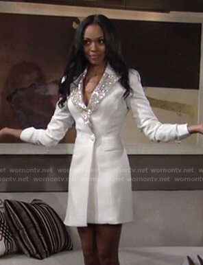 Amanda's white blazer dress with sequin lapel on The Young and the Restless