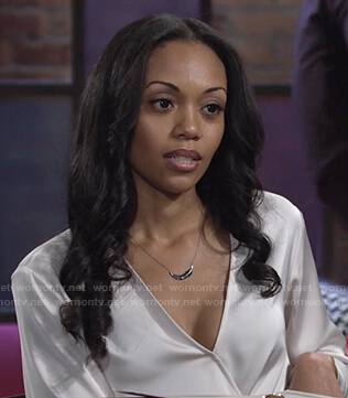 Amanda's white wrap blouse on The Young and the Restless