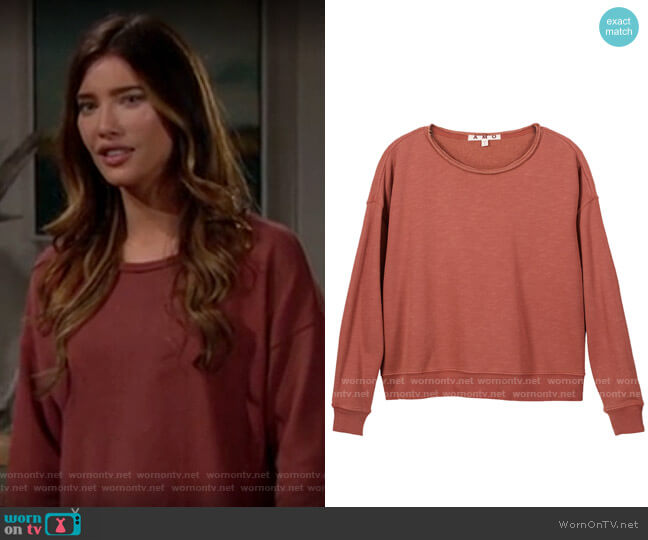 AMO Classic Sweatshirt with Raw Edge in Suntan worn by Steffy Forrester (Jacqueline MacInnes Wood) on The Bold & the Beautiful